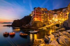 Riomaggiore Cinque Terre, Włochy, - fotografia stock