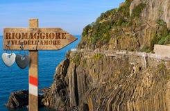 Riomaggiore - die Weise der Liebe lizenzfreie stockbilder