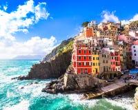 Riomaggiore, een dorp in Cinque Terre, Itali? royalty-vrije stock foto