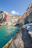 Riomaggiore fisherman village in Cinque Terre Stock Photos