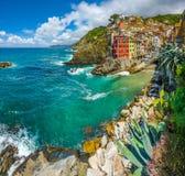 Riomaggiore fisherman village in Cinque Terre, Liguria, Italy Royalty Free Stock Images
