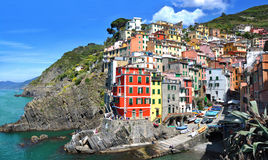 Riomaggiore fisherman village.Is one of five famous colorful villages of Cinque Terre National Park in Italy Royalty Free Stock Photography