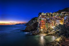 Riomaggiore fisherman village at sunset. Five Lands & x28;Cinque Terre& x29;, Liguria, Italy Stock Photo