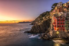 Riomaggiore fisherman village at sunset. Five Lands & x28;Cinque Terre& x29;, Liguria, Italy Stock Photography