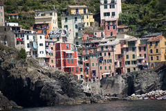 Riomaggiore a fishing village on the Cinqueterra coastline of Liguria in Northern Italy. The villages cannot be reached by road,. The fishing villages of Royalty Free Stock Photos