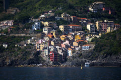 Riomaggiore a fishing village on the Cinqueterra coastline of Liguria in Northern Italy. The villages cannot be reached by road,. The fishing villages of Royalty Free Stock Images