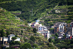 Riomaggiore a fishing village on the Cinqueterra coastline of Liguria in Northern Italy. The villages cannot be reached by road, Royalty Free Stock Photo