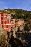 Riomaggiore i solnedgången, Cinque Terre, Liguria, Italie Arkivbilder