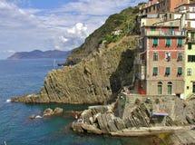 Riomaggiore. Italian village on the sea stock image
