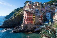 Riomaggiore in Italy. Riomaggiore and its harbour in Italy Stock Photography