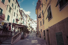 RIOMAGGIORE, ITALY - 05 MARCH, 2016 :People walking on the stree Royalty Free Stock Photography