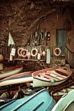 Riomaggiore,liguria. Old boats in Riomaggiore, Cinque Terre, Italy Royalty Free Stock Image