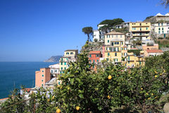 Riomaggiore - Ligury - Italy. View to Riomaggiore - one of the villages in Cinque Terre royalty free stock photos
