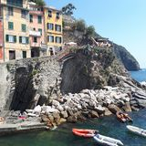 Riomaggiore, mountain, wall, geological phenomenon, building. Riomaggiore is mountain, building and tourism. That marvel has wall, rock and historic site and royalty free stock image