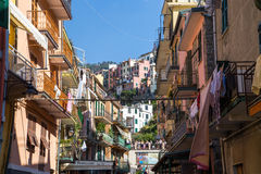 Riomaggiore nadmorski sceneria Fotografia Royalty Free