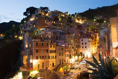 Riomaggiore at night Stock Photography