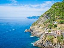 Riomaggiore, pueblo antiguo en Cinque Terre, Italia imágenes de archivo libres de regalías