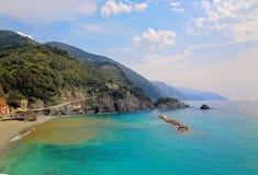 Riomaggiore scenic shoreline. Italy, Cinque Terre, Riomaggiore scenic shoreline Stock Photography