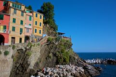 Riomaggiore. Shot in Riomaggiore, one of the 5 Lands, a view from the port, Italy royalty free stock images