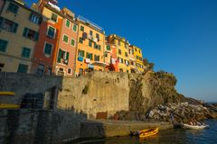 Riomaggiore at sunset, 5 Terre, La Spezia province, Ligurian coast, Italy. Stock Images