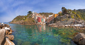 Riomaggiore town on the coast of Ligurian Sea. Italy Royalty Free Stock Image