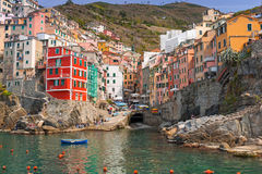 Riomaggiore town on the coast of Ligurian Sea. Italy Royalty Free Stock Photo