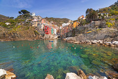 Riomaggiore town on the coast of Ligurian Sea. Italy Royalty Free Stock Photos
