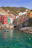 Riomaggiore town on the coast of Ligurian Sea. Italy Stock Images
