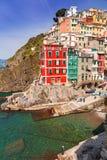 Riomaggiore town on the coast of Ligurian Sea Stock Image