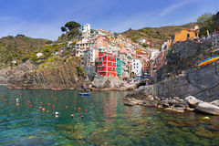 Riomaggiore town on the coast of Ligurian Sea Royalty Free Stock Image