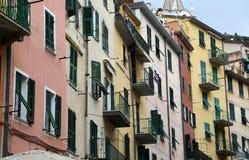 Riomaggiore, un des villages de Cinque Terre, l'Italie Photographie stock libre de droits