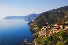 Riomaggiore and Via dell Amore, The Way of Love, aerial view. Ci Royalty Free Stock Images