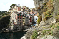 Riomaggiore view in Ligurian coast. View at Riomaggiore in Cinque Terre in Italy Royalty Free Stock Photos