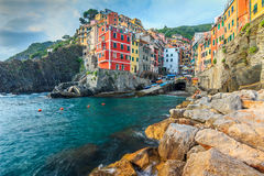 Riomaggiore village on the Cinque Terre coast of Italy,Europe Stock Photos