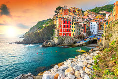 Riomaggiore village on the Cinque Terre coast of Italy,Europe Stock Image