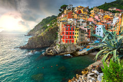 Riomaggiore village on the Cinque Terre coast of Italy,Europe Royalty Free Stock Photos