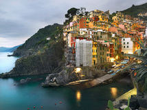 Riomaggiore village at dusk. Liguria Royalty Free Stock Image