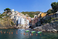 Riomaggiore village scenery. Riomaggiore is one of the Cinque Terre villages, the famous road of love is here Royalty Free Stock Images
