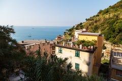 Riomaggiore wioski sceneria Zdjęcie Stock