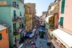 Riomaggiore wioski sceneria zdjęcia royalty free