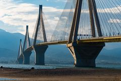 Rio- Antirrio cable stayed bridge. It is the the world`s longest cable-stayed bridge. stock image