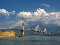 Rion Antirrion bridge in west Greece stock images