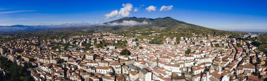 Rionero in vulture. Ultrawide aerial view of little town of rionero in vulture in basilicata region of southern italy stock photo