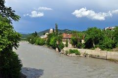 Rioni河在库塔伊西,乔治亚 免版税库存图片