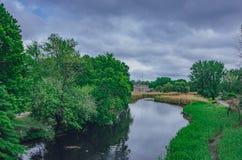 Rios e árvores em brejos do Back Bay, em Boston, EUA imagem de stock