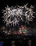 A Riot of Fireworks Over the Cincinnati Skyline Royalty Free Stock Images