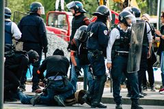 Riot in France stock images