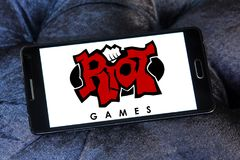 Riot Games company logo. Logo of Riot Games company on samsung mobile. Riot Games is an American video game developer, publisher, and eSports tournament Vector Illustration