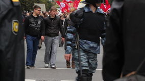 Riot gear escorted convoy of protesters, Russia Stock Photo