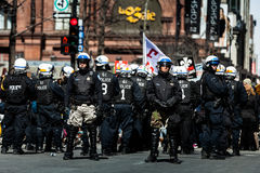 Riot in the Montreal Streets to counter the Economic Austerity M Royalty Free Stock Photo